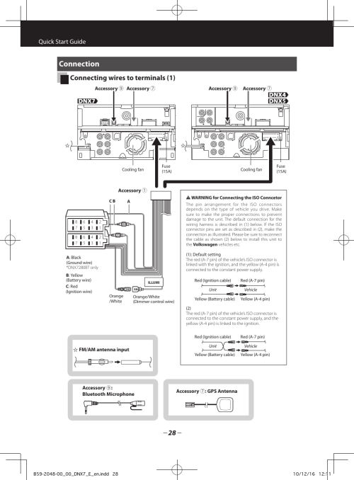 small resolution of connection connecting wires to terminals 1 quick start guide kenwood dnx5280bt user manual page 28 36