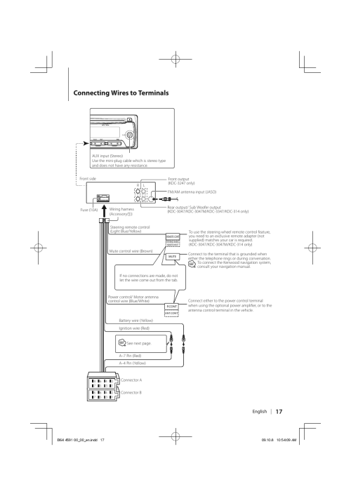 small resolution of connecting wires to terminals kenwood kdc 314am user manual page 17 24