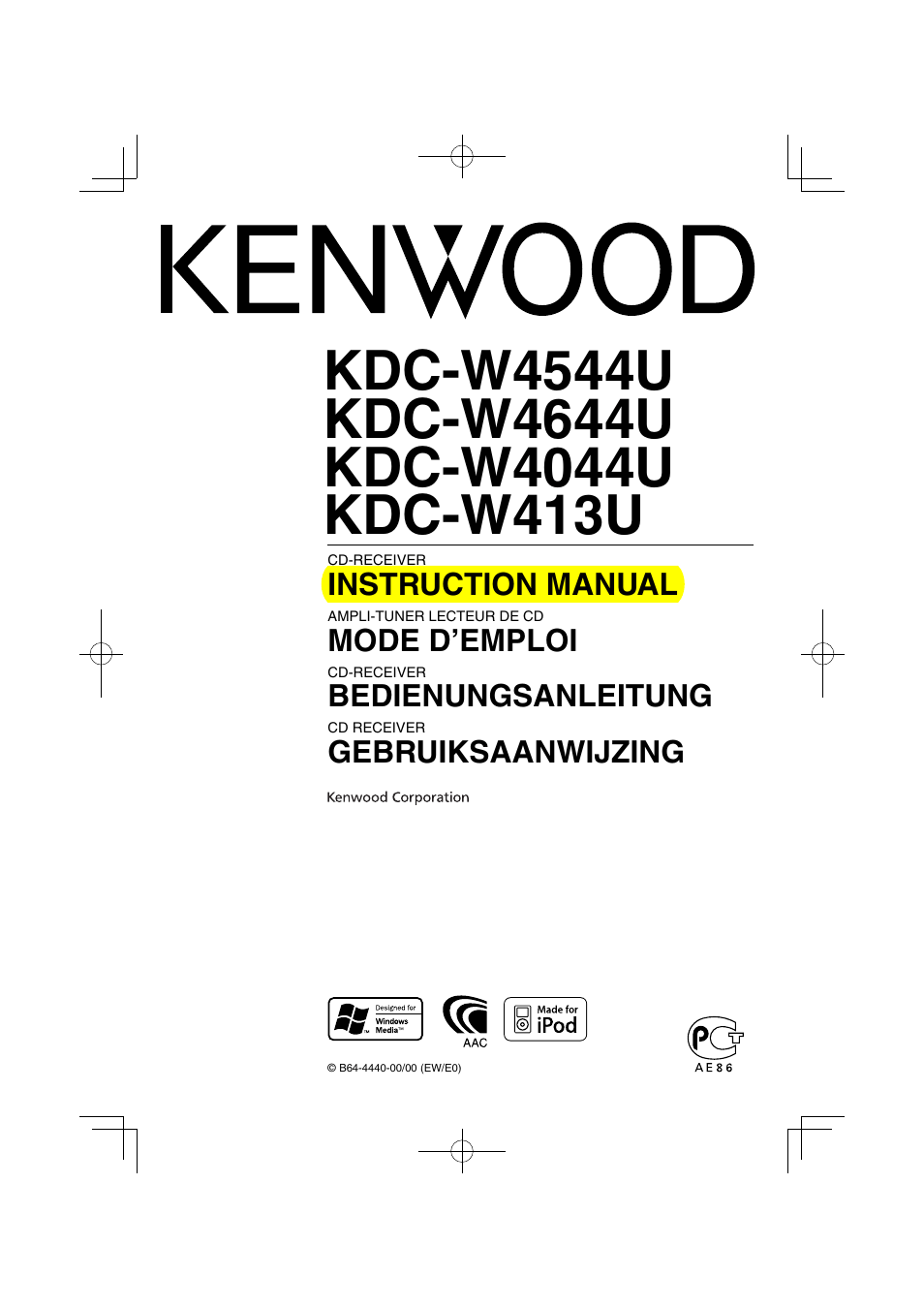 Bedienungsanleitung Kenwood Kdc W4544u