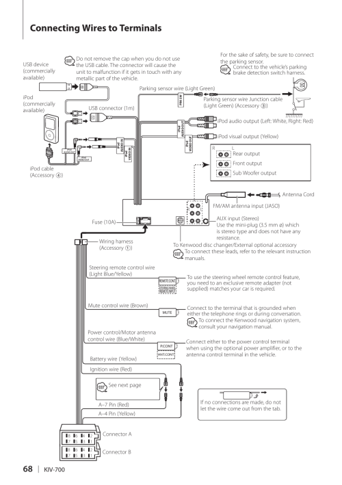 small resolution of connecting wires to terminals connecting wires to terminals kenwood kiv 700 user manual page 68 76
