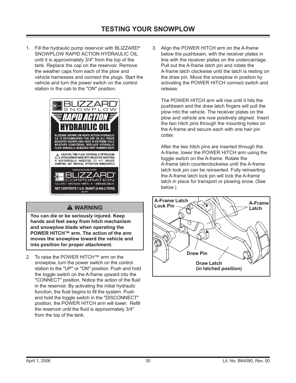 hight resolution of testing your snowplow blizzard snowplows 760hd user manual page 30 52