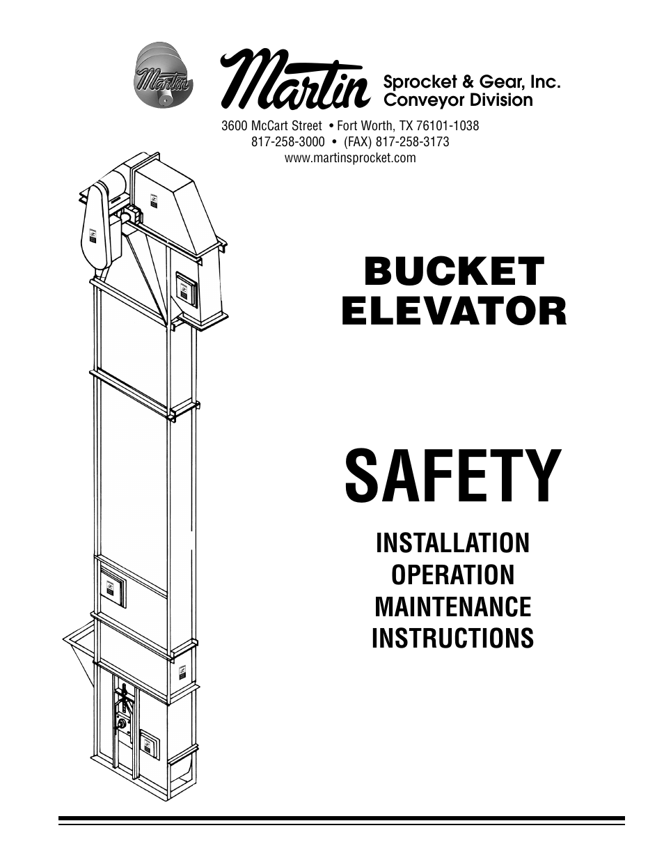 Martin Sprocket & Gear Bucket Elevator Safety User Manual