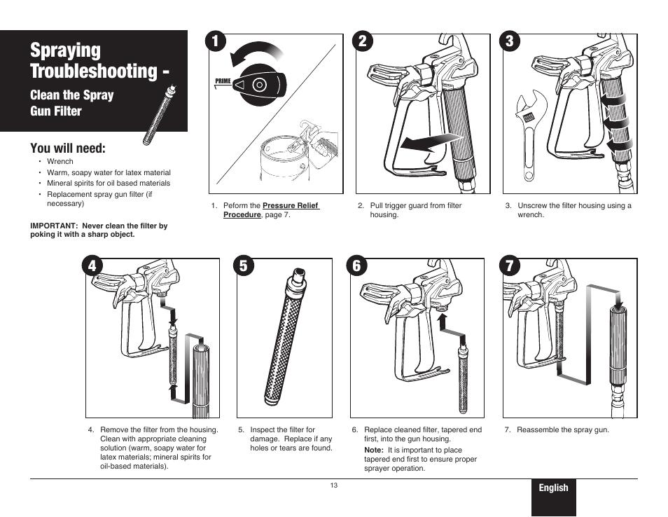 Clean the spray gun filter, 13 clean the spray gun filter