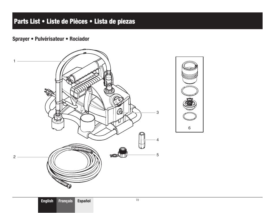 Parts list / liste de pièces / lista de piezas, Sprayer