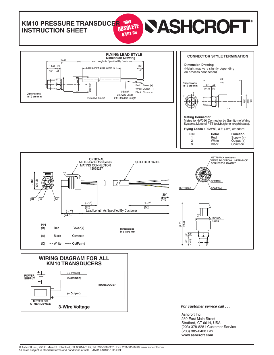 hight resolution of obsole te km10 pressure transducer instruction sheet wiring diagram for all km10 transducers ashcroft km10 compact pressure transducer user manual