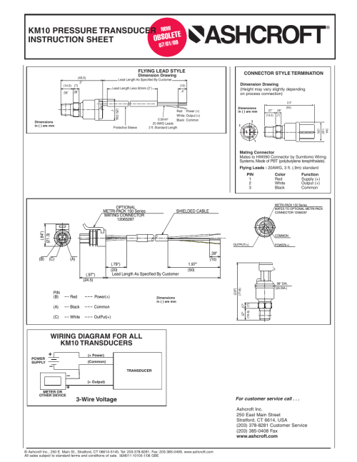 small resolution of obsole te km10 pressure transducer instruction sheet wiring diagram for all km10 transducers ashcroft km10 compact pressure transducer user manual