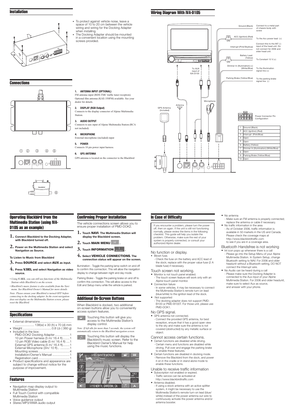 hight resolution of connections wiring diagram with iva d105 specifications alpine blackbird docking adapter pmd dok2 user manual page 2 2