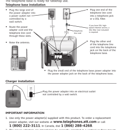 telephone base and charger installation at t cl81301 user manual page 3 9 [ 954 x 1295 Pixel ]