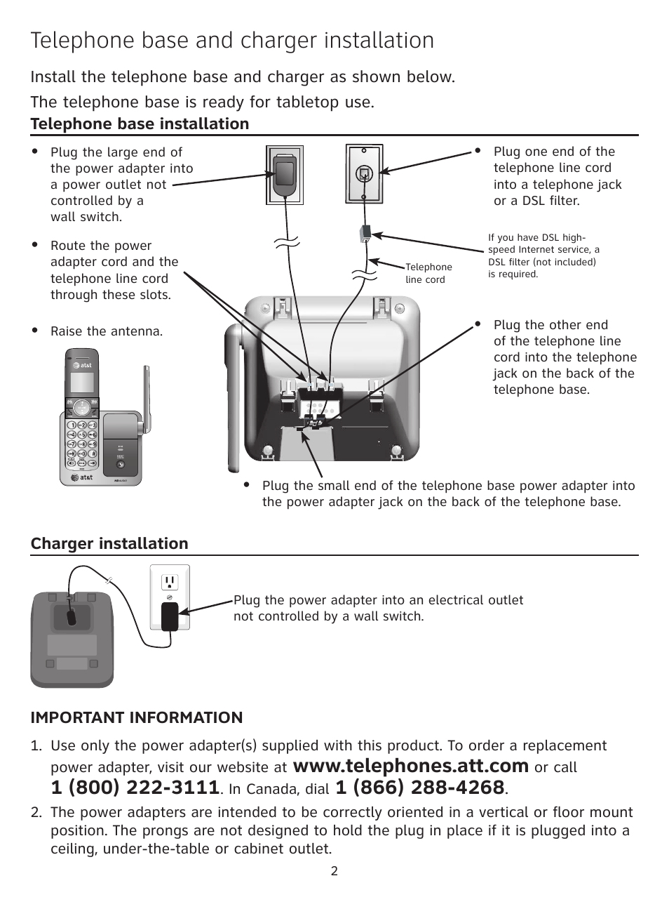 medium resolution of telephone base and charger installation at t cl81301 user manual page 3 9