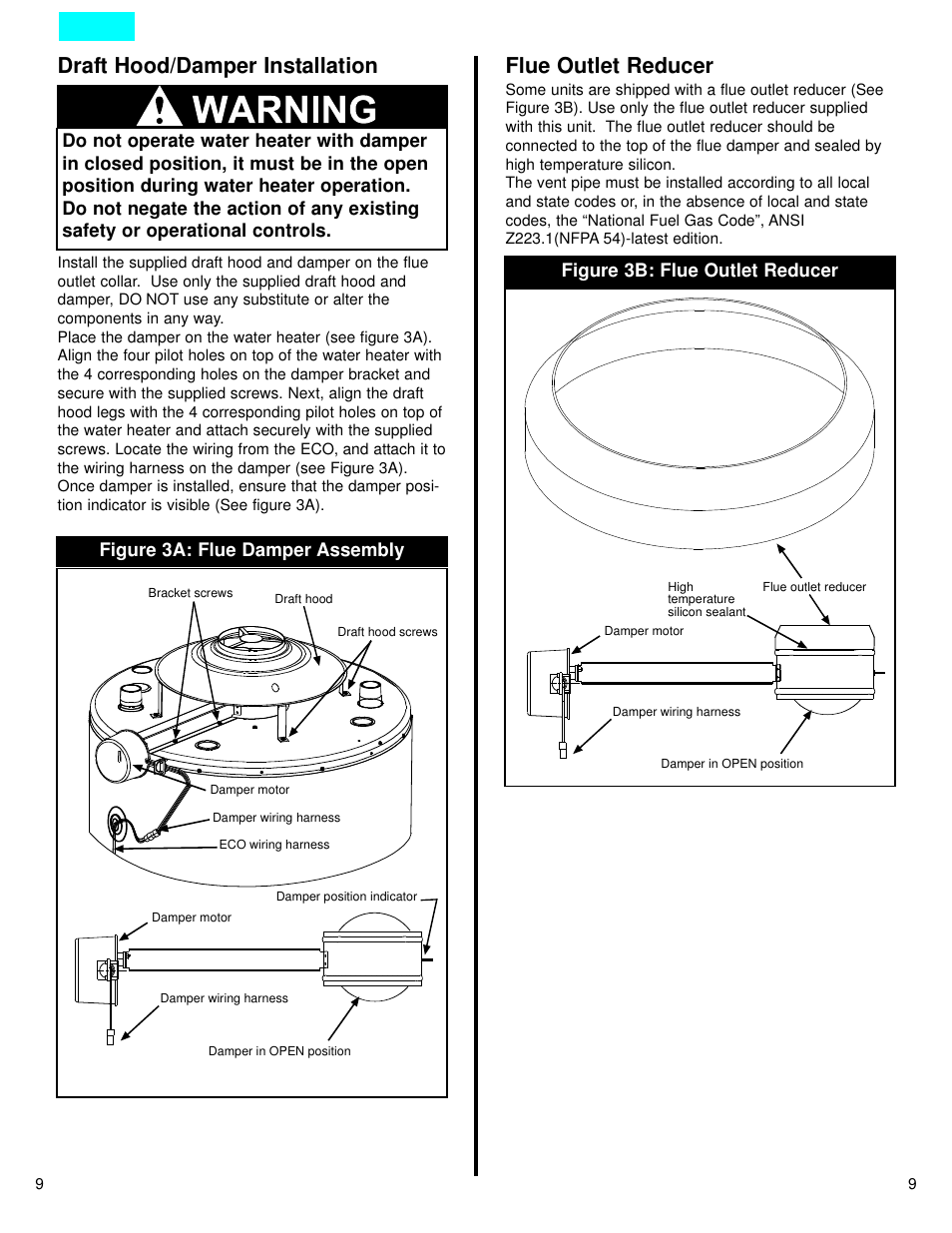 hight resolution of draft hood damper installation flue outlet reducer american water heater dcg user manual page 9 26