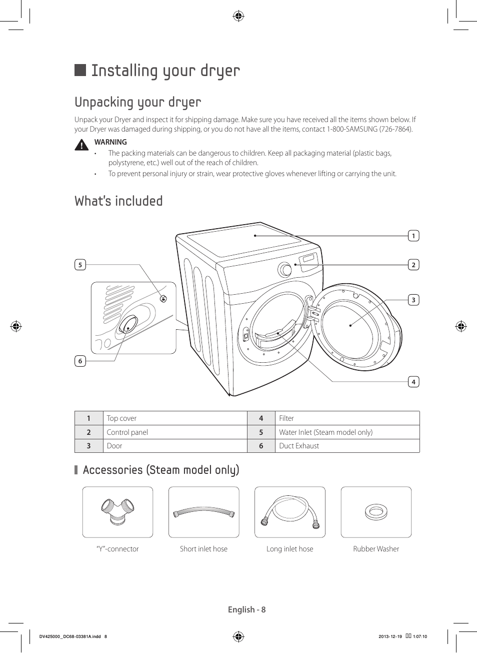 Installing your dryer, Unpacking your dryer, What's