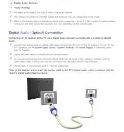 audio input and output connections digital audio optical connection samsung un24h4500afxza user manual page 10 146 [ 954 x 1350 Pixel ]