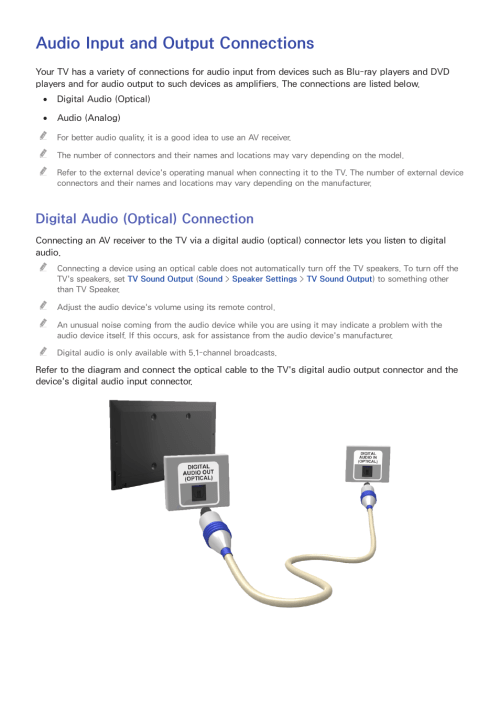 small resolution of audio input and output connections digital audio optical connection samsung un24h4500afxza user manual page 10 146