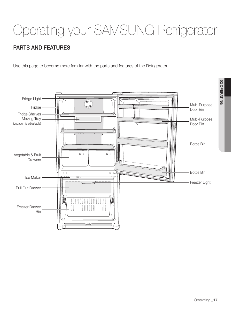 Operating your samsung refrigerator, Parts and features