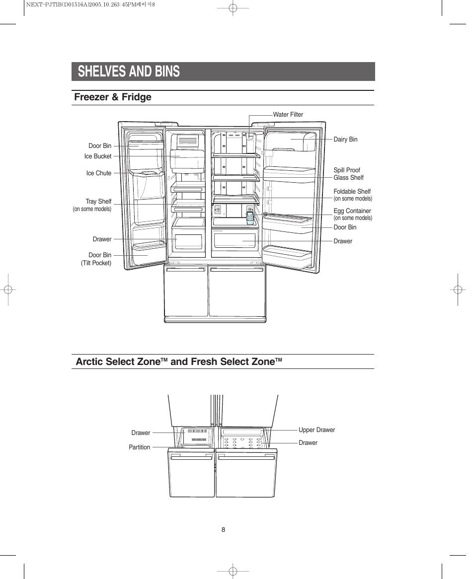 Shelves and bins, Freezer & fridge arctic select zone, And