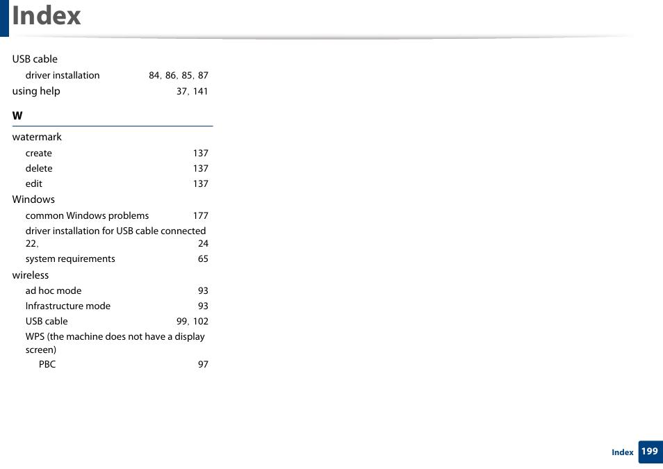 Index | Samsung SL-M2020W-XAA User Manual | Page 199 / 199