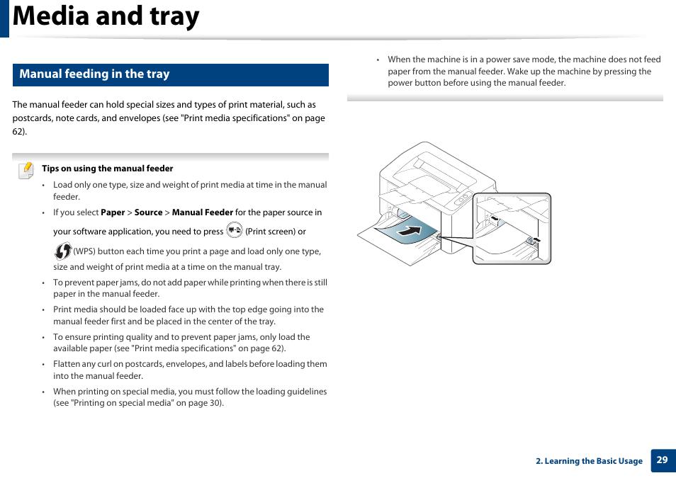 Media and tray. Manual feeding in the tray | Samsung SL-M2020W-XAA User Manual | Page 29 / 199