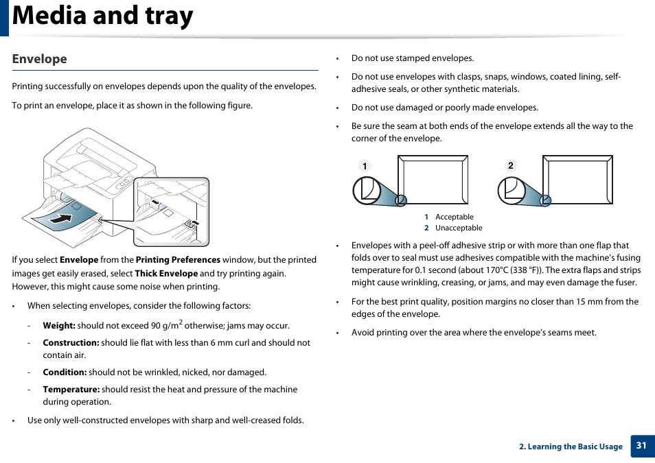 Media and tray. Envelope | Samsung SL-M2020W-XAA User Manual | Page 31 / 199