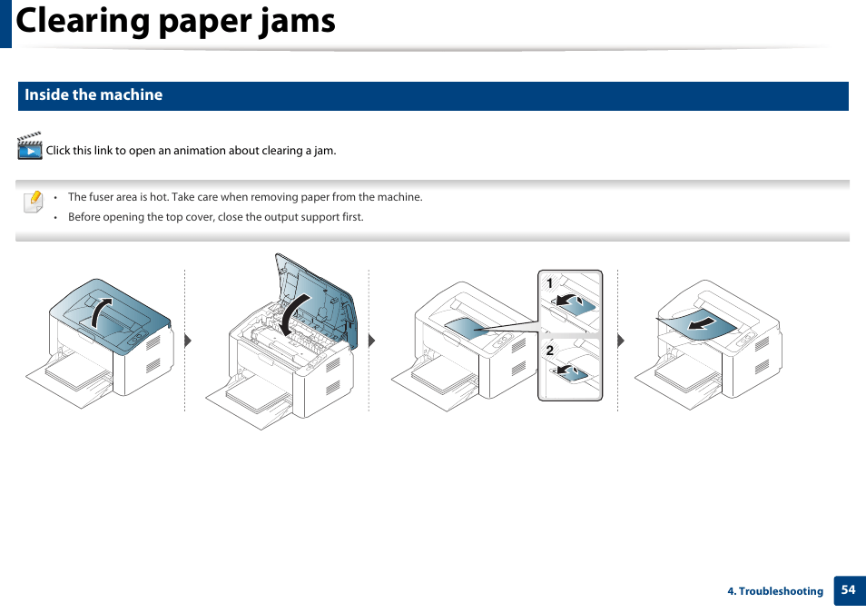 Clearing paper jams. Inside the machine | Samsung SL-M2020W-XAA User Manual | Page 54 / 199