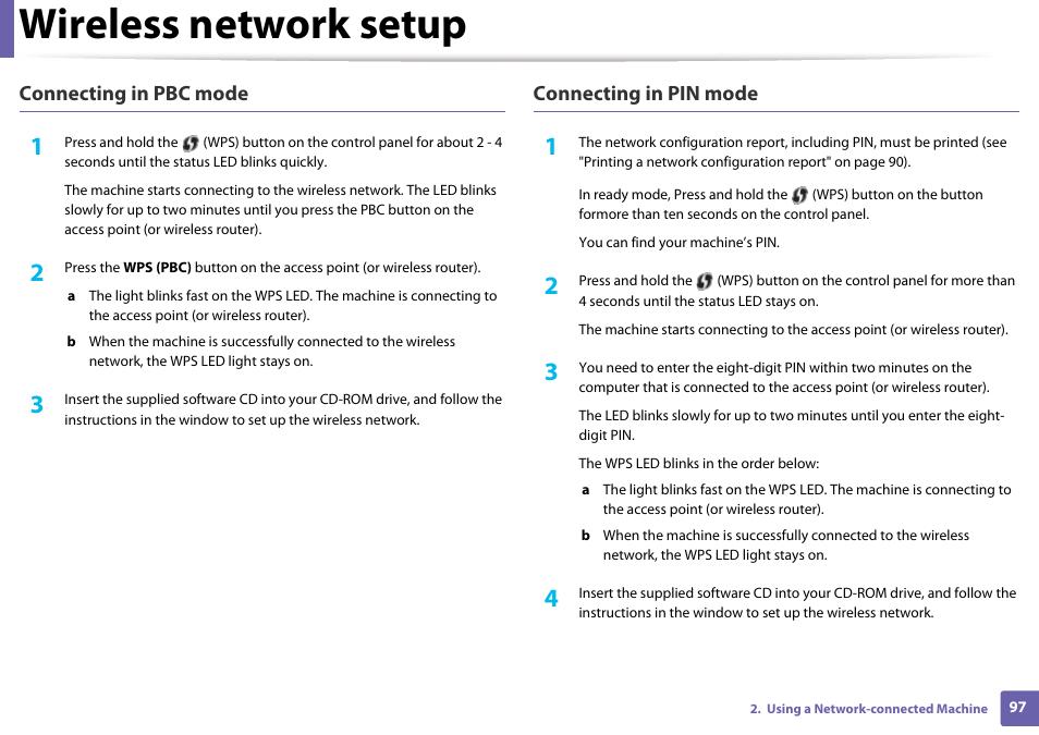 Wireless network setup | Samsung SL-M2020W-XAA User Manual | Page 97 / 199