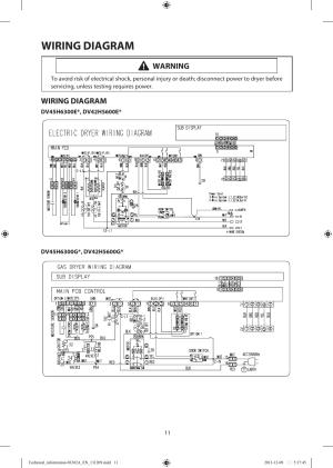 Wiring diagram, Warning | Samsung DV42H5200EFA3 User Manual | Page 11  36