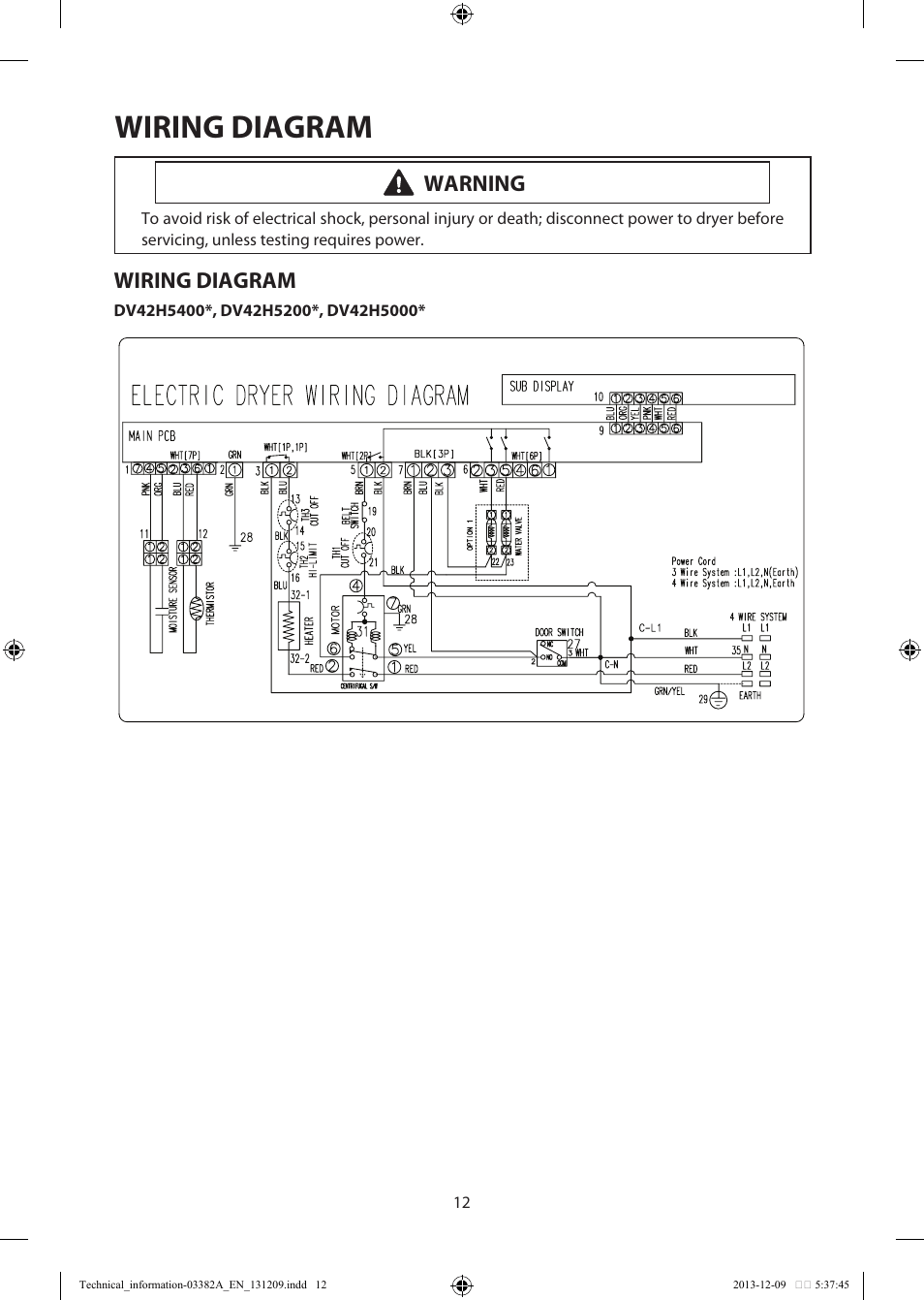 wiring diagram for kenmore dryer 1974 bmw 2002 diagram, warning | samsung dv42h5200ef-a3 user manual page 12 / 36