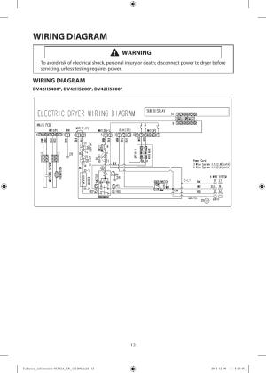 Wiring diagram, Warning   Samsung DV42H5200EFA3 User Manual   Page 12  36