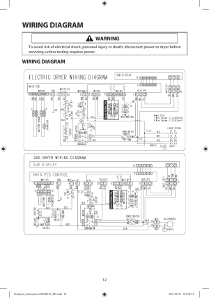 Wiring diagram, Warning | Samsung DV448AEPXAA User Manual | Page 12  12