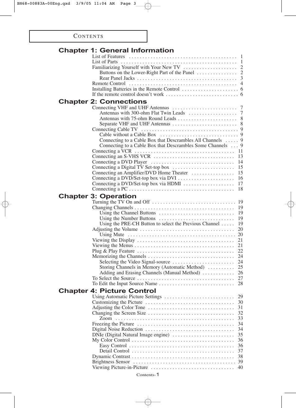 Chapter 1: general information, Chapter 2: connections