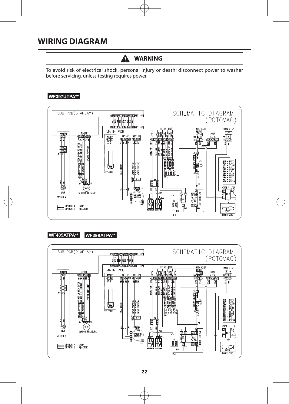 hight resolution of wiring diagram warning samsung wf405atpasu a2 user manual page 22 72