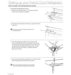 setting up your french door refrigerator reattaching the refrigerator doors samsung rf263aers xaa user manual page 12 80 [ 954 x 1235 Pixel ]