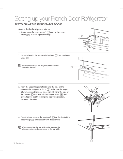 small resolution of setting up your french door refrigerator reattaching the refrigerator doors samsung rf263aers xaa user manual page 12 80