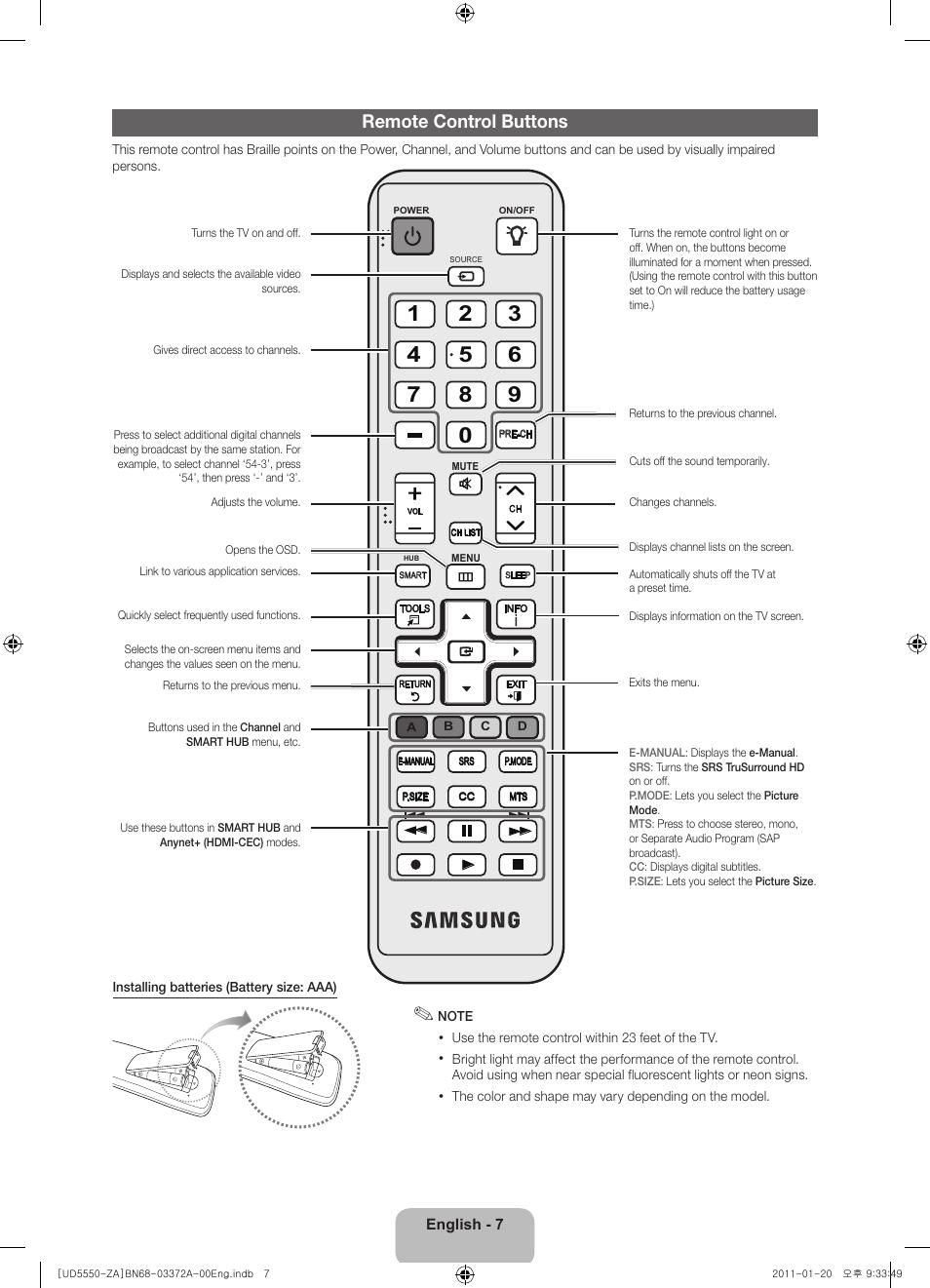 Bedienungsanleitung Samsung Fernseher Aa59