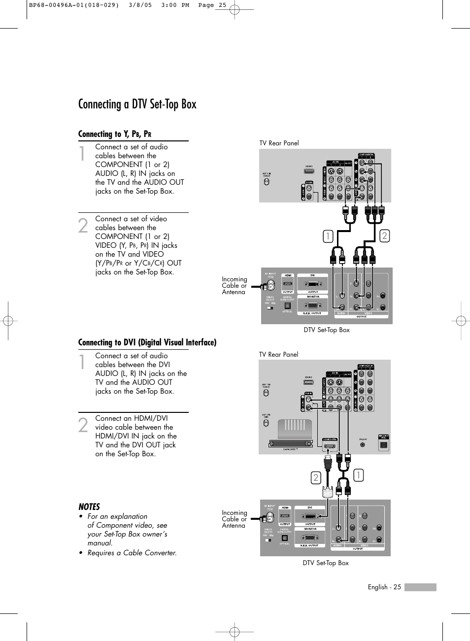Connecting a dtv set-top box, Connecting to y, pb, pr