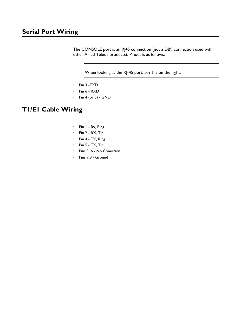 medium resolution of serial port wiring t1 e1 cable wiring allied telesis at img6x6mod electronics unit user manual page 38 46