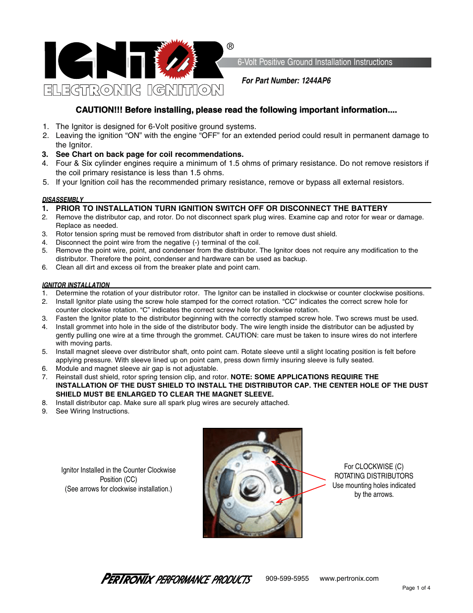 hight resolution of pertronix ignitor 1244ap6 user manual volt positive ground installation instructions