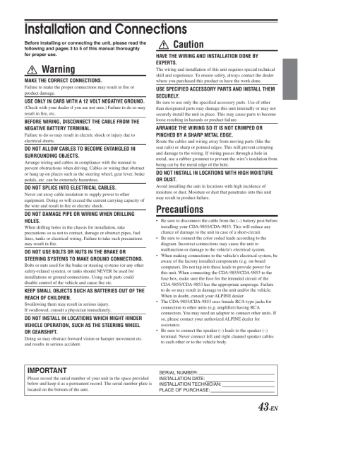 small resolution of installation connections installation and connections warning alpine cda 9853 user manual page 44 55