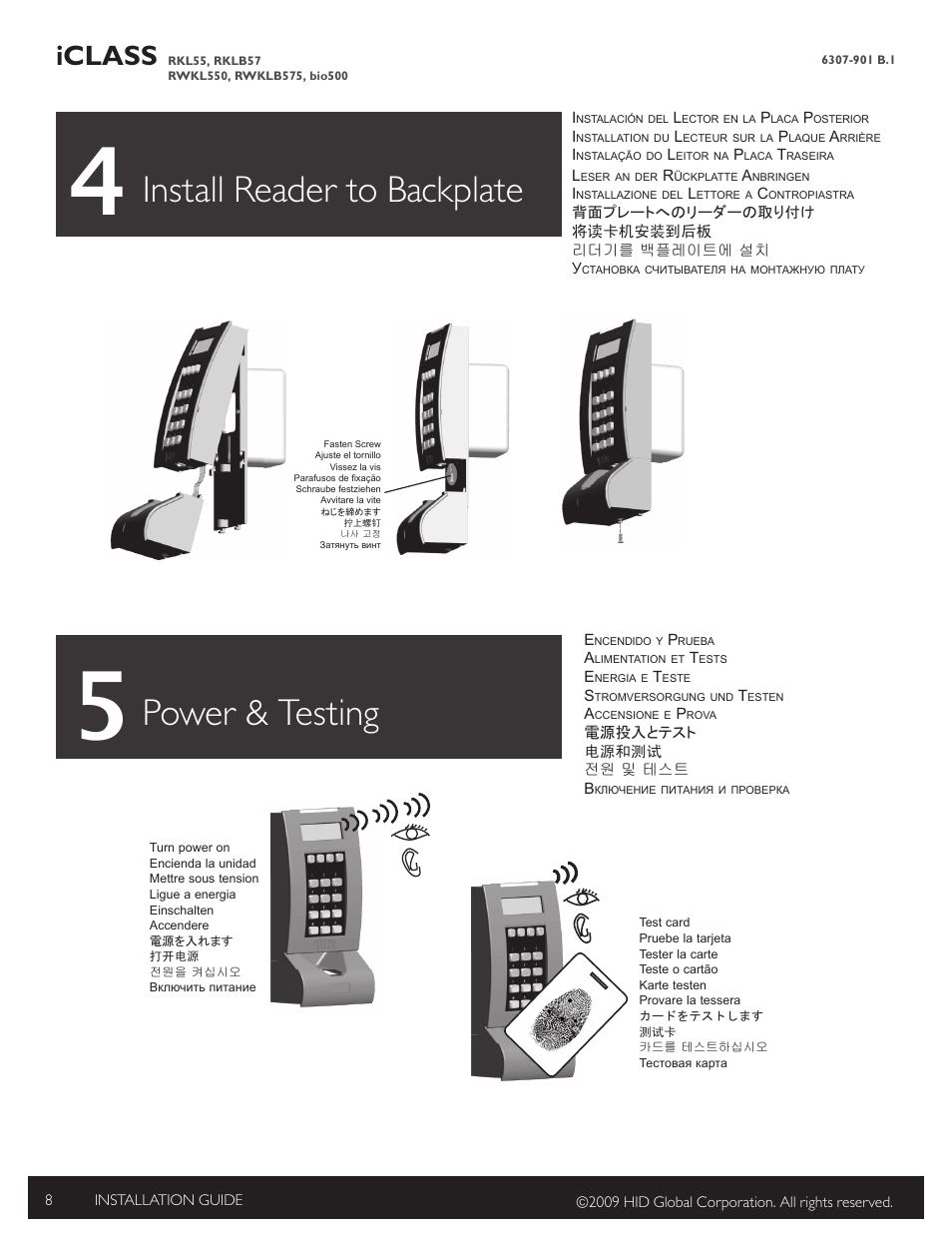 4 install reader to backplate, 5 power & testing, Power