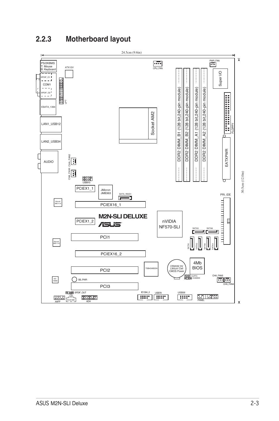 3 motherboard layout, M2n-sli deluxe, Asus m2n-sli deluxe