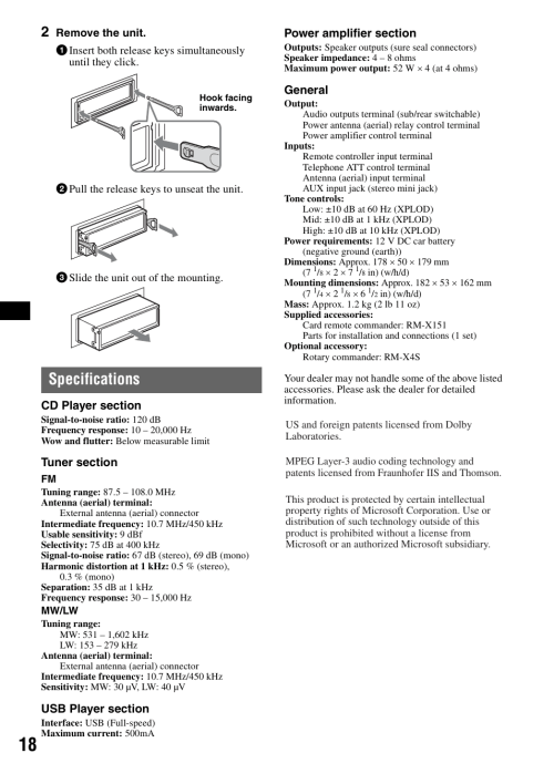 small resolution of specifications sony cdx gt420u user manual page 18 112 sony cdx gt200 manual sony cdx gt420u wiring diagram