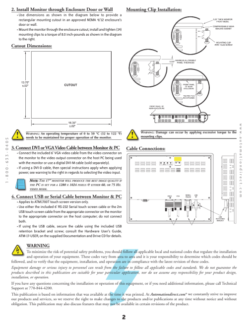 small resolution of install monitor through enclosure door or wall cutout dimensions mounting clip installation atlas atm1700 user manual page 2 4