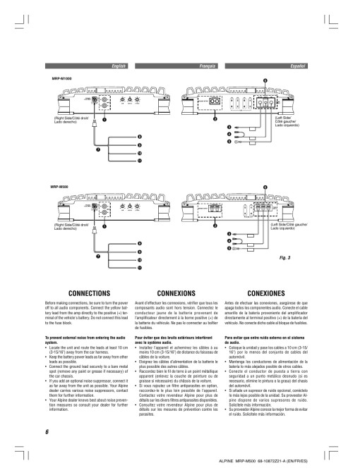 small resolution of connections connexions conexiones alpine v12 accuclass d mrd m500 user manual page 6 16
