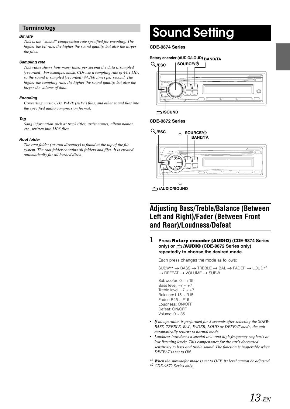 Sound setting, Adjusting bass/treble/balance (between left
