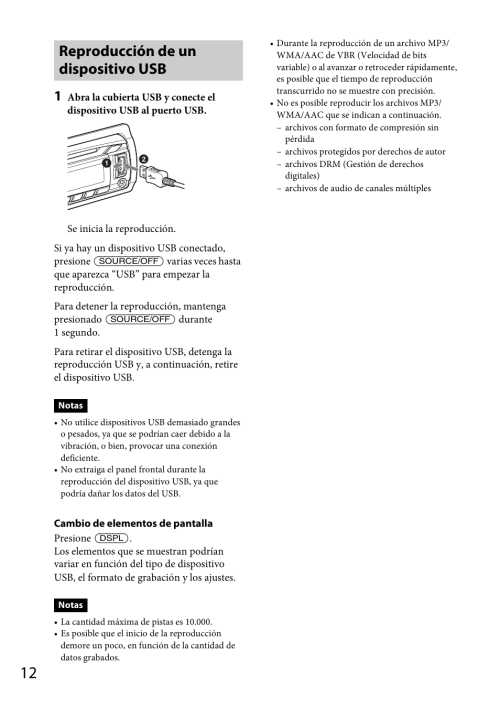 small resolution of reproducci n de un dispositivo usb sony cdx gt570up user manual page 76