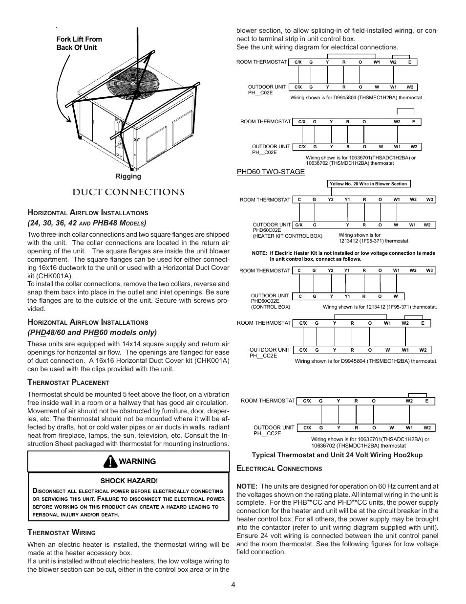 medium resolution of duct connections h warning phb48 m amana package heat pump user manual page 4 20