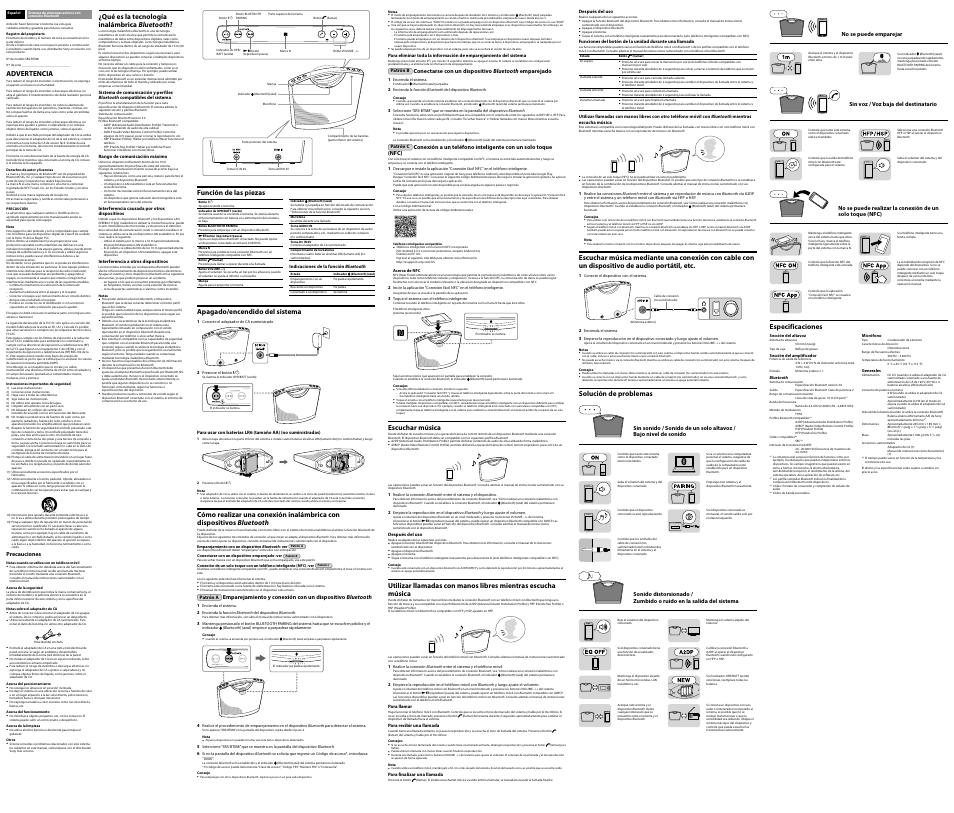 Función de las piezas, Apagado/encendido del sistema