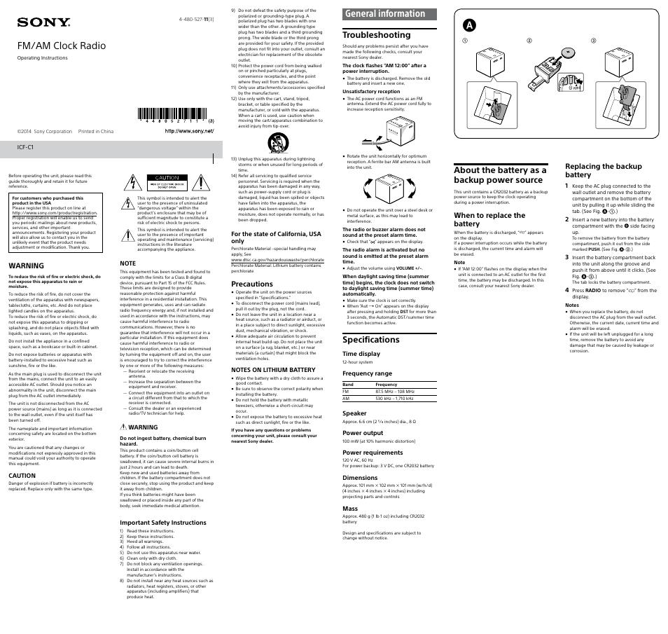 Mode Demploi Radio Reveil Sony Icf C1t