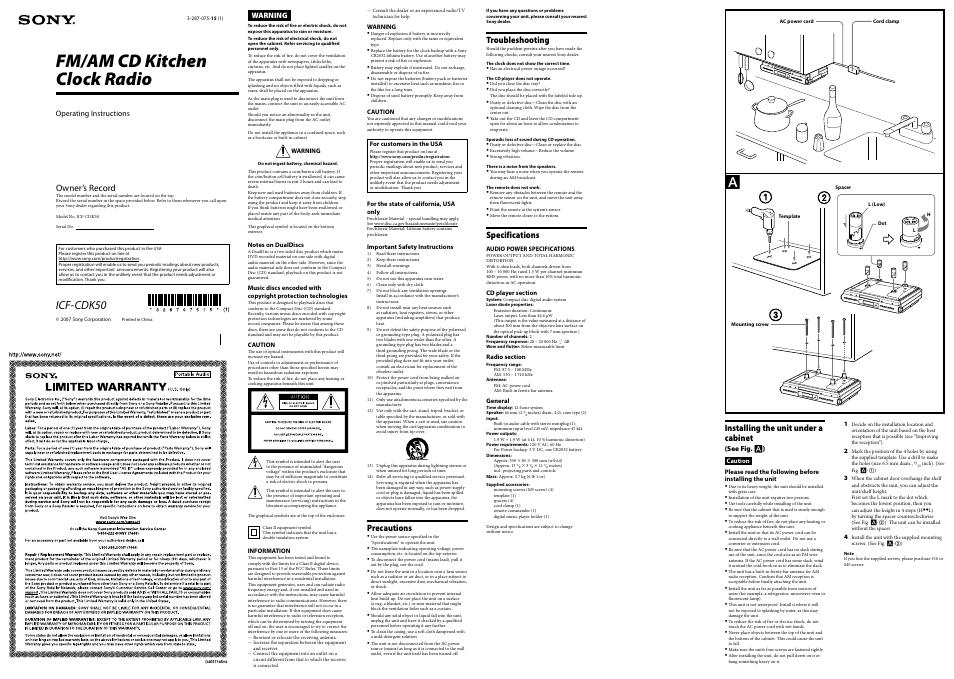 ICF-CDK50 MANUAL PDF