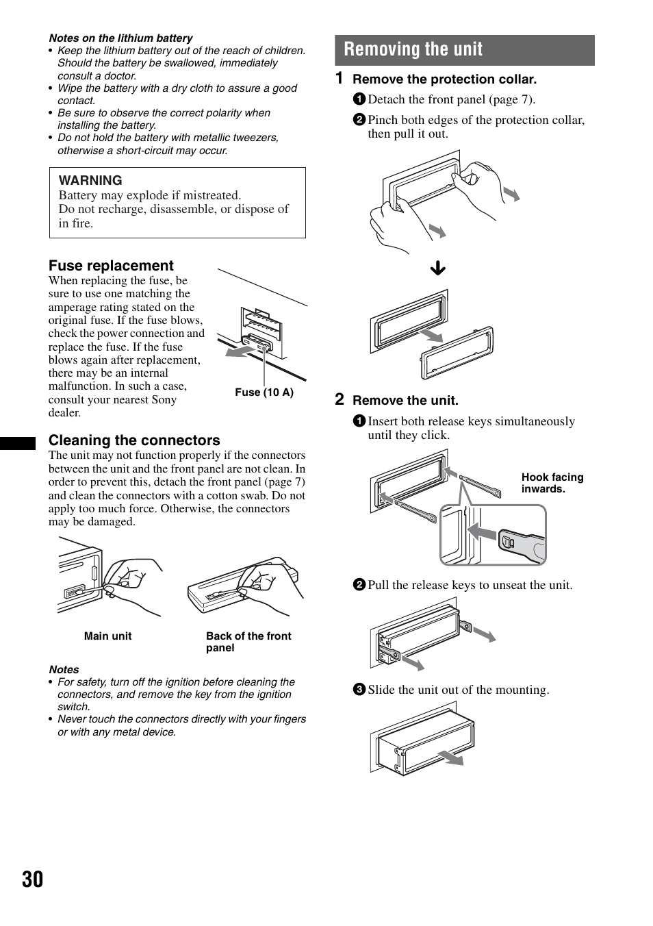 hight resolution of removing the unit sony mex bt38uw user manual page 30 72