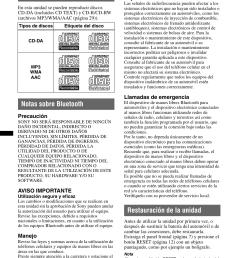 procedimientos iniciales discos que se pueden reproducir en esta unidad notas sobre bluetooth  [ 954 x 1352 Pixel ]